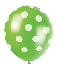 "POLKA DOT BALLOONS GREEN   12""     6PCS/PKG"