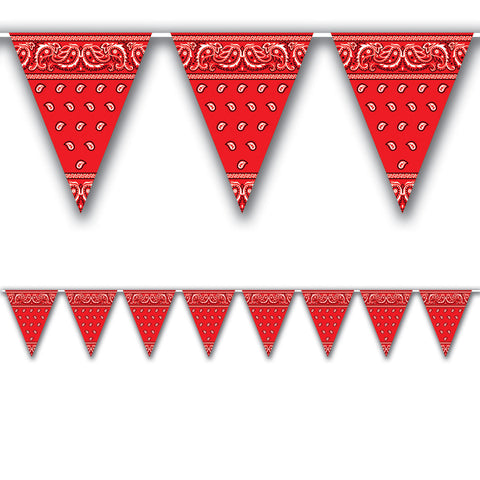 WESTERN PENNANT BANNER RED  12' LONG        EACH