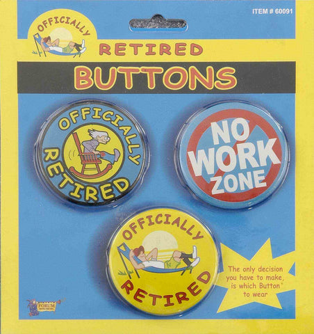 BUTTON - RETIRED                 3 PC/CARD