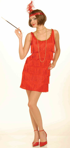 ROARING 20'S FLAPPER COSTUME  SIZE 8-12 RED