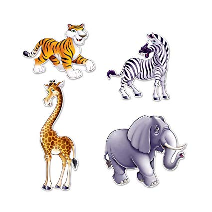 JUNGLE ANIMAL CUTOUTS  4CT