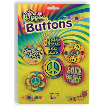 HIPPIE BUTTON ASSORTMENT 5 CT/PKG