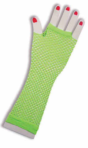 GREEN FINGERLESS GLOVES LONG FISHNET  1PR/PKG