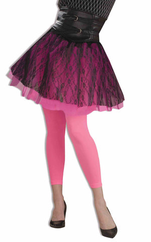 TIGHTS - NEON PINK FOOTLESS            ADULT