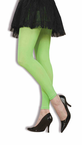 TIGHTS - NEON GREEN FOOTLESS            ADULT