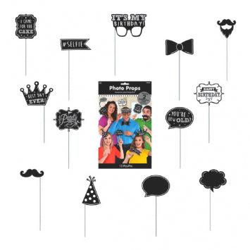BLACK AND WHITE BIRTHDAY PHOTO PROPS   13PCS