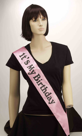 SASH - IT'S MY BIRTHDAY PINK W/BLACK LETTERS