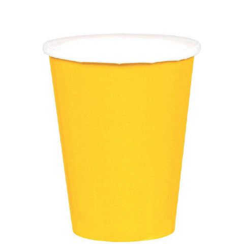 HOT / COLD PAPER CUPS - SUNSHINE YELLOW  9OZ  20 COUNT