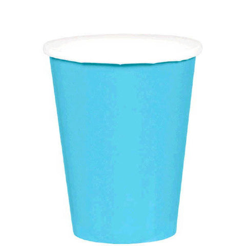 HOT / COLD PAPER CUPS - CARIBBEAN BLUE   9OZ   20 COUNT