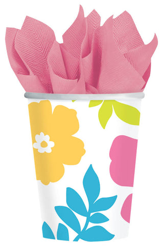 WHITE HIBISCUS 9OZ PAPER CUPS