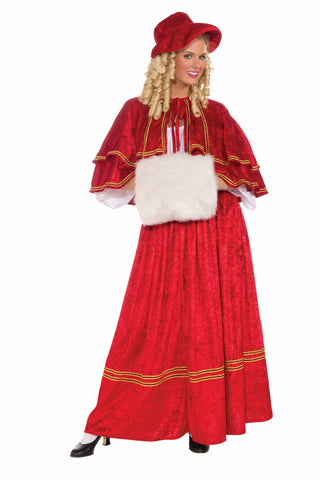COSTUME - CHRISTMAS CAROL SINGER   RED        ADUL