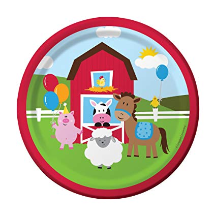 "FARMHOUSE BIRTHDAY 7"" PAPER PLATES 8CT"