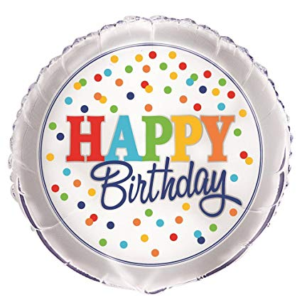 "POLKA DOT HAPPY BIRTHDAY 18"" MYLAR BALLOON"