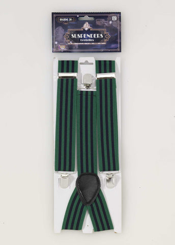 1920'S SUSPENDERS 1PR/PKG  GREEN & BLUE