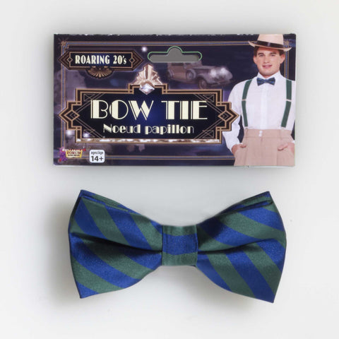 STRIPED BOW TIE GREEN / BLUE  1PC/PKG