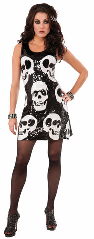 SEQUIN SKULL DRESS ADULT   XS - S