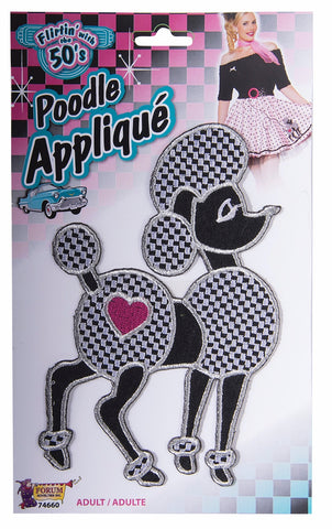 50's Poodle Applique Black/Pink