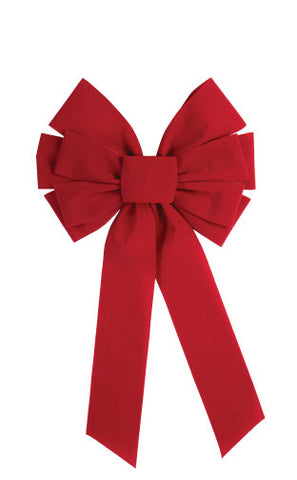 "10"" RED VELVET BOW 10 LOOP    1PC/CARD"