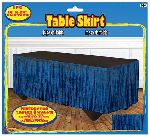 BLUE METALLIC TABLESKIRT