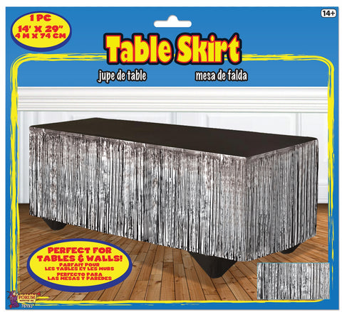 SILVER METALLIC TABLESKIRT