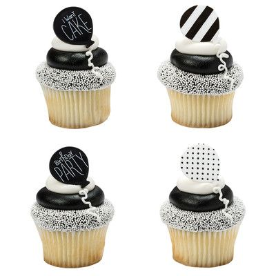 BLACK AND WHITE BALLOON CUPCAKE RINGS
