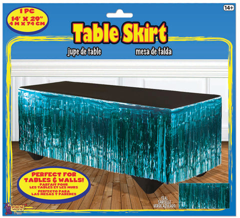 Teal Metallic Tableskirt
