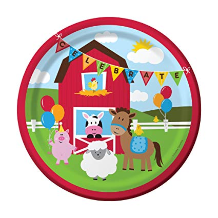 "FARMHOUSE BIRTHDAY 9"" PAPER PLATES 8CT"
