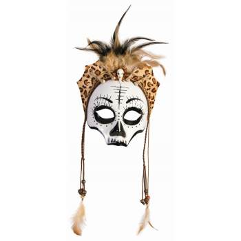 VOODOO SKULL MASK W/FEATHERS