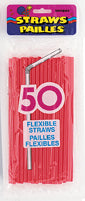 STRAWS - RUBY RED FLEXIBLE       50 CT/UNIT