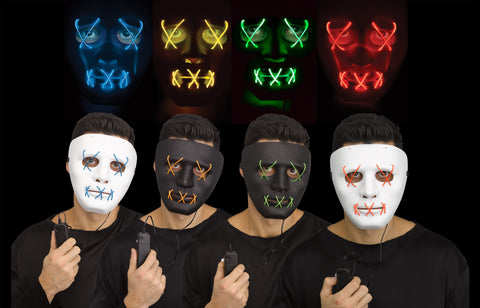 E.L. LIGHT UP PLASTIC MASK   4 OPTIONS