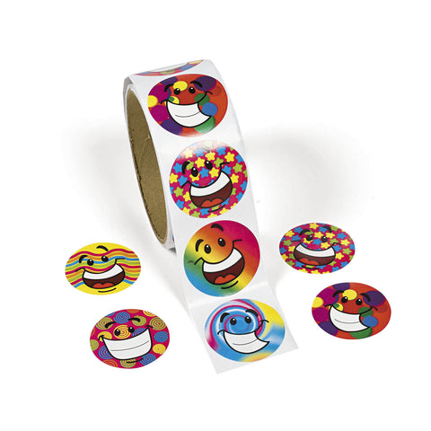 FUNKY SMILE FACE STICKERS 100PCS/ROLL