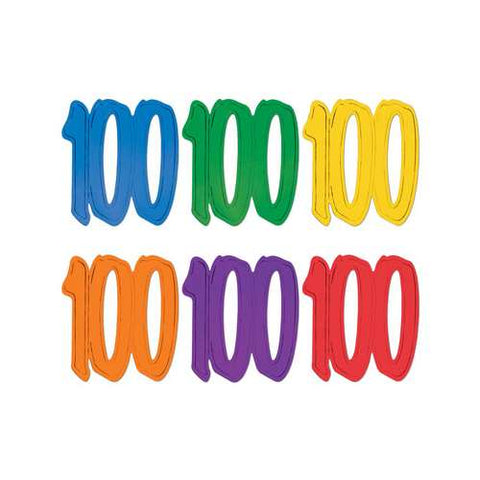 "CUTOUT -  100TH BIRTHDAY ASST COLORS  12""     EACH"