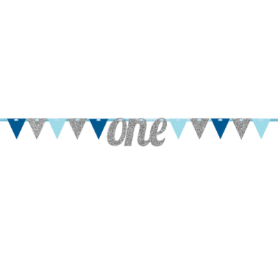 SILVER ONE GLITTER BIRTHDAY BANNER WITH PENNANTS 9'