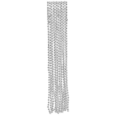SILVER BEAD NECKLACES 12CT
