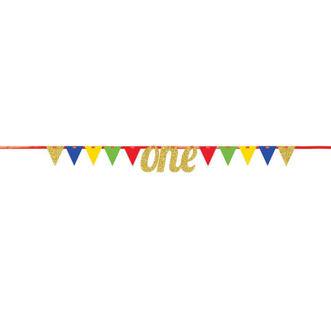 ONE GOLD GLITTER BIRTHDAY BANNER WITH PENNANTS  9'