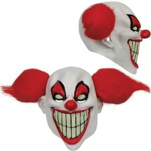 CLOWN MASK WITH RED HAIR