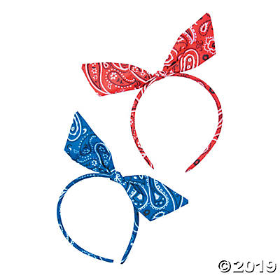 RED OR BLUE BANDANA HEADBAND