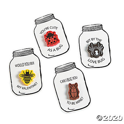 Bug Jar Eraser Valentine Cards
