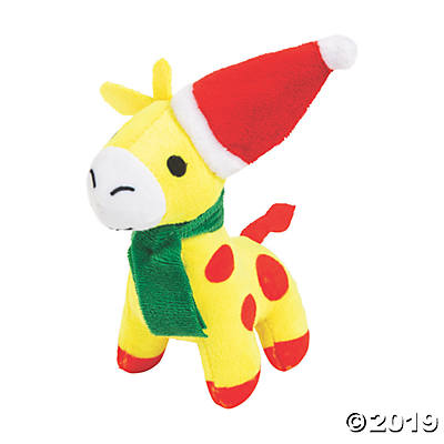 SMALL PLUSH CHRISTMAS GIRAFFE   1 PIECE