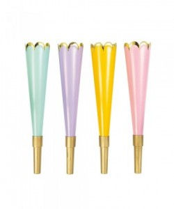 PASTEL PARTY HORNS   4CT