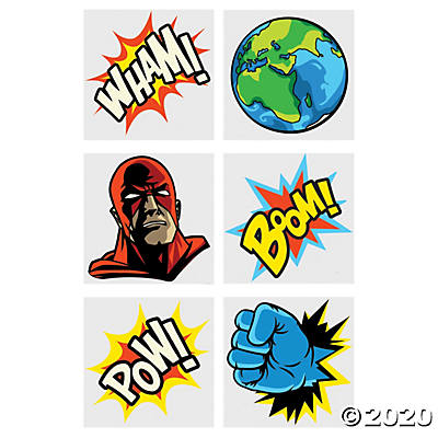 COMIC SUPERHERO TEMPORARY TATTOOS 72PCS