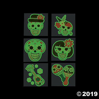 DAY OF THE DEAD GLOW IN THE DARK TEMPORARY TATTOOS 36CT