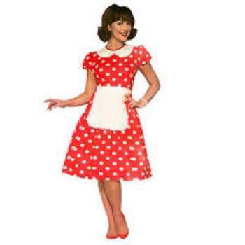 50's Housewife Red Dress - Adult Costume