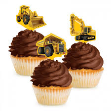 Construction Birthday Cupcake Toppers