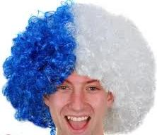 Sports Blue and White Afro Wig