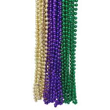 Mardi Gras Color Beaded Necklaces