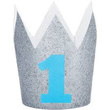 1ST BIRTHDAY BLUE AND SILVER GLITTER CROWN