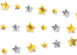 Silver and Gold Stars Garland