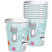 Purr-fect Cat Party 9oz. Hot/Cold Paper Cups