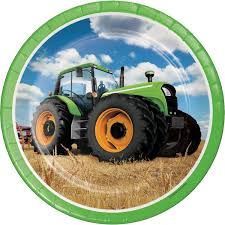 "Tractor Time 9"" Paper Plates"